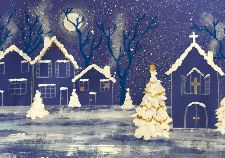 11 января — Мастер-класс «Ночной зимний пейзаж», гуашь, цветная бумага