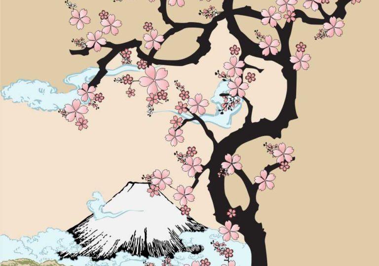 4 апреля мастер-класс «Сакура у подножья Фудзиямы», рисунок, гуашь