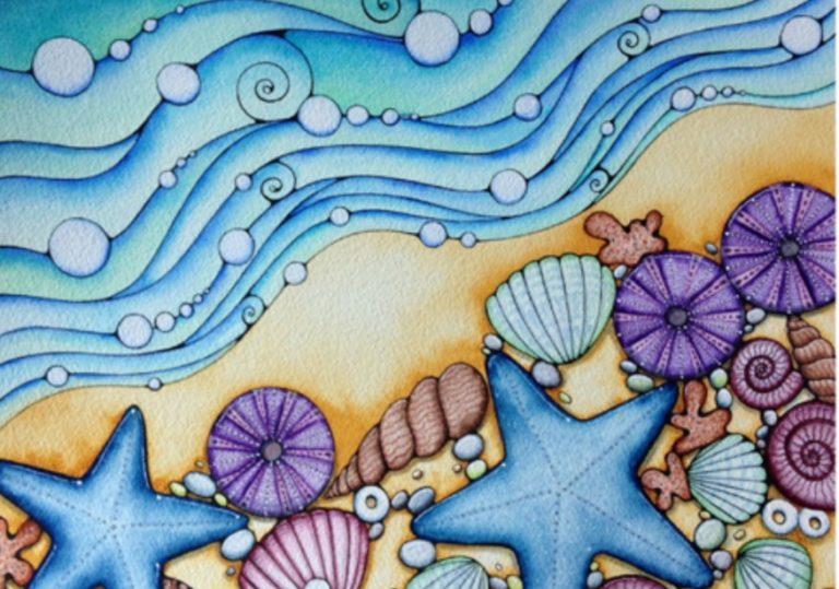 8 мая мастер-класс «Следы моря», рисунок, акварельные карандаши