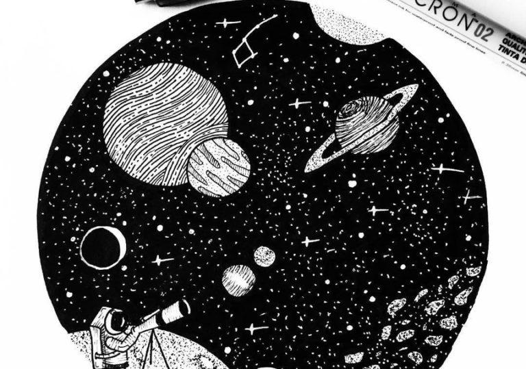 03 июля мастер-класс «Открытый космос», рисунок, черная бумага, белый карандаш