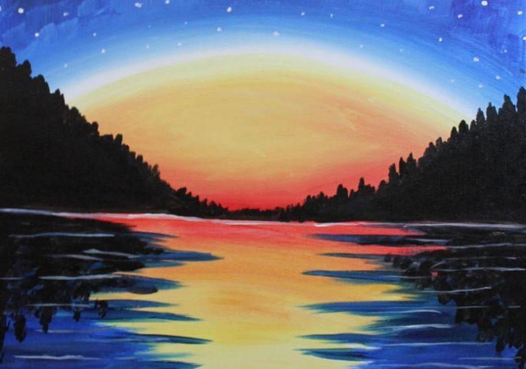 29 июля мастер-класс «Теплый вечер», рисунок, акрил